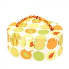 Boîte à couture ovale Agrume - vert/orange
