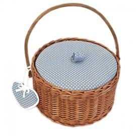 Boîte à couture ronde Willow - bleu ciel