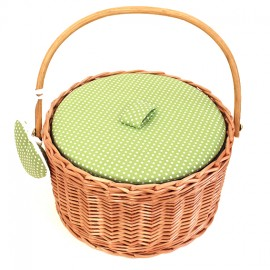 Round sewing basket - anise green Willow