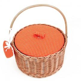 Round sewing basket - orange Willow