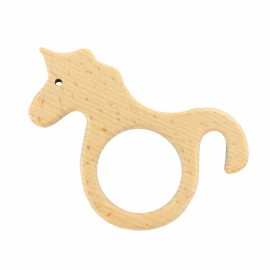 Organic natural wood teething ring - unicorn