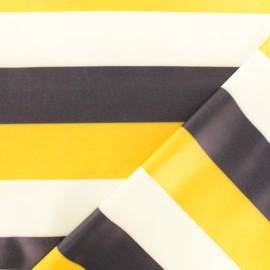 Tissu enduit spécial ciré Rayure - jaune/marine x 10cm