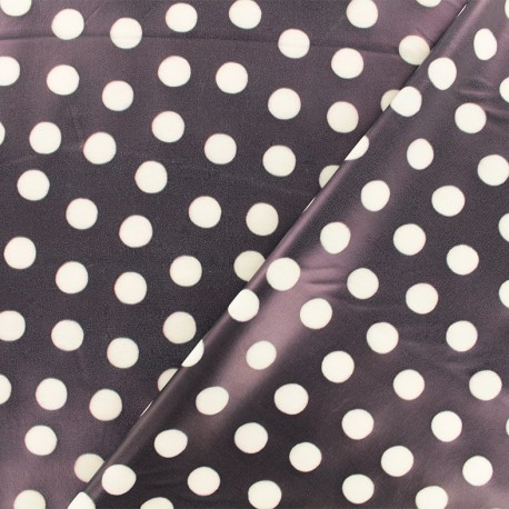 Tissu enduit spécial ciré Pois - marine x 10cm