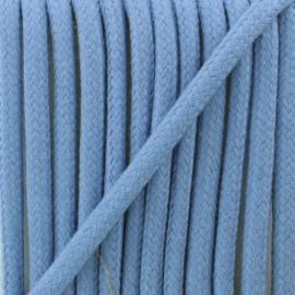 Cordon tressé 8 mm Amana  - bleu céruléen x 1m