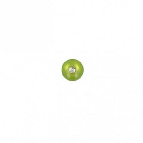 Bouton polyester rond avec strass - vert
