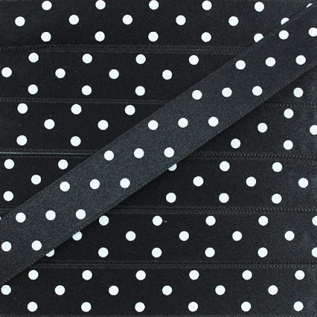 Double-sided Satin Ribbon 15mm with white polka Dots - Black