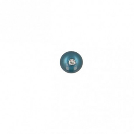 Bouton polyester rond avec strass 8 mm- bleu pétrole
