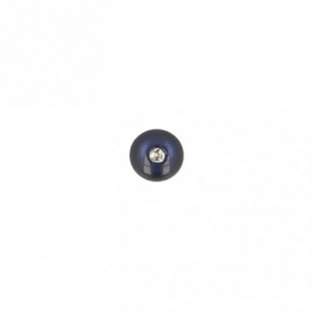 Bouton polyester rond avec strass 8 mm- marine
