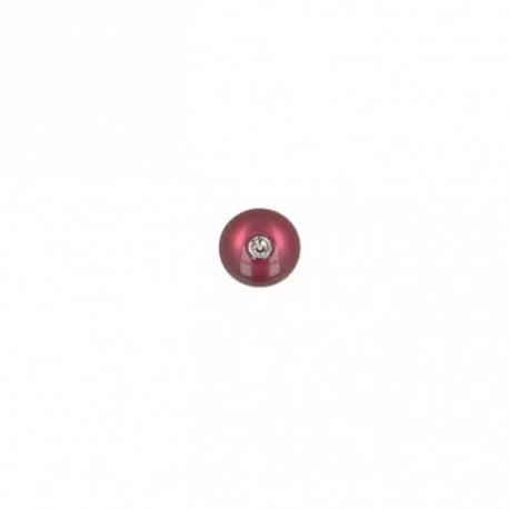 8 mm round polyester button with rhinestone - plum