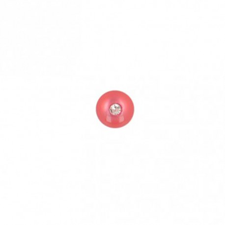 Bouton polyester rond avec strass 8 mm- fuchsia