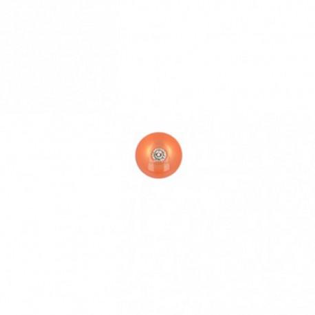 8 mm round polyester button with rhinestone - orange