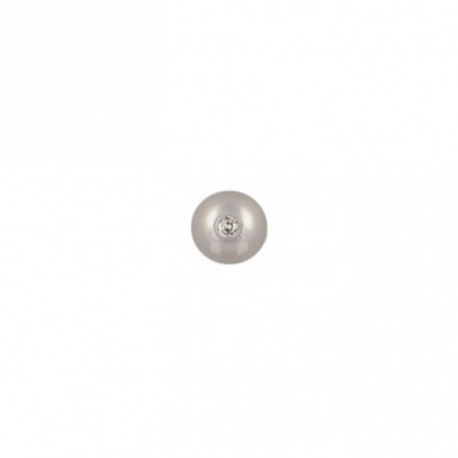 Bouton polyester rond avec strass 8 mm- gris argent