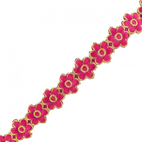 25 mm Bangalore iron-on guipure lace - fuchsia x 50cm