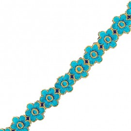 25 mm Bangalore iron-on guipure lace - blue x 50cm
