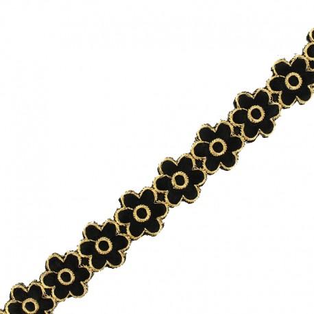 25 mm Bangalore iron-on guipure lace - black x 50cm
