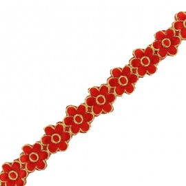 25 mm Bangalore iron-on guipure lace - red x 50cm