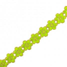 25 mm Bangalore iron-on guipure lace - green x 50cm