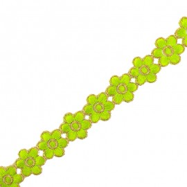 25 mm Bangalore iron-on guipure lace - green x 50cm
