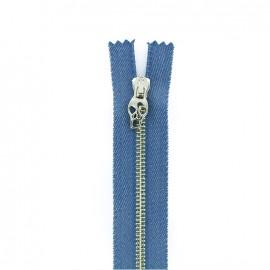 Metal closed bottom zipper - jean Skull zipper pull