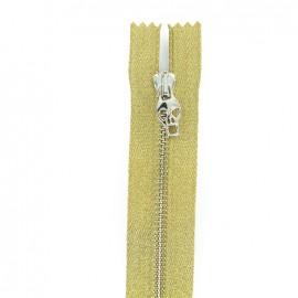 Metal closed bottom zipper - gold Skull zipper pull