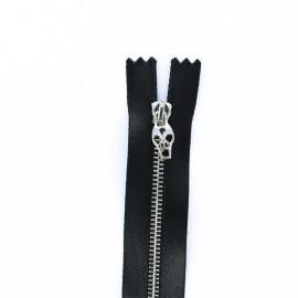 Fermeture métal non séparable Curseur Tête de mort - satin noir/argent