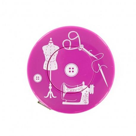 Mètre ruban enrouleur Couture - fuchsia