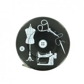 Mètre ruban enrouleur Couture - noir