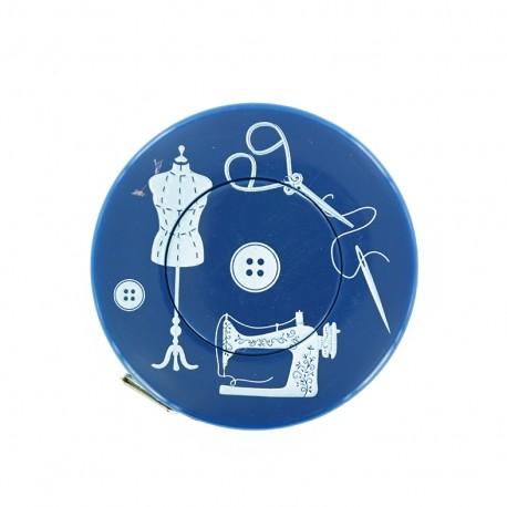Mètre ruban enrouleur Couture - bleu