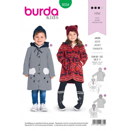 Patron veste enfant Burda N°9334