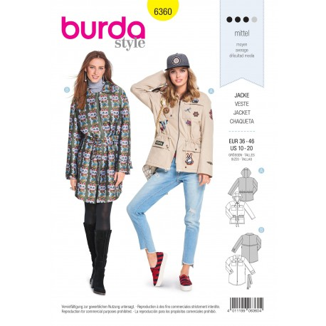 Patron veste femme Burda N°6360