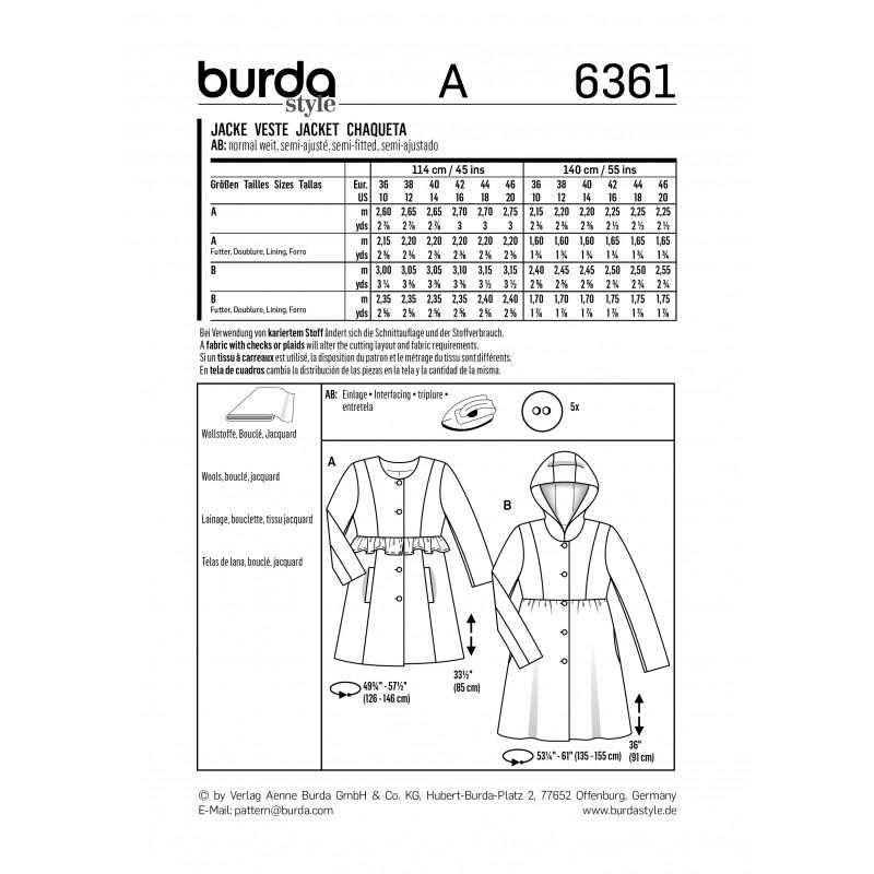 Patron veste femme Burda N°6361