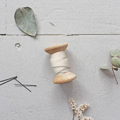 Bias binding gauze cotton fabric Atelier brunette - Stardust Off whitex 10cm