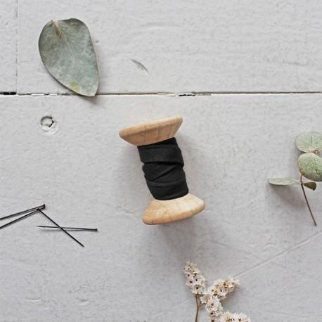 Bias binding gauze cotton fabric Atelier brunette - Stardust black x 10cm
