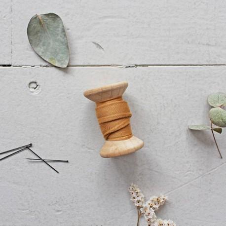 Bias binding gauze cotton fabric Atelier brunette - Stardust Ochre  x 10cm