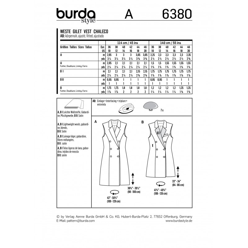 Vest Sewing Pattern for Women - Burda N°6380