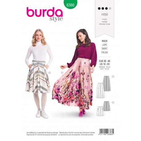Skirt Sewing Pattern for Women - Burda N°6386