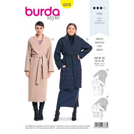 Coat sewing pattern for women - Burda N°6378