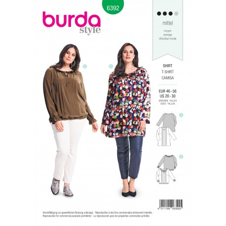 Blouse Sewing Pattern For Women Plus Size Burda N6392