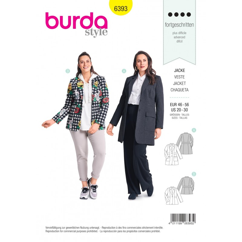 Jacket Sewing Pattern For Women Plus Size Burda N6393