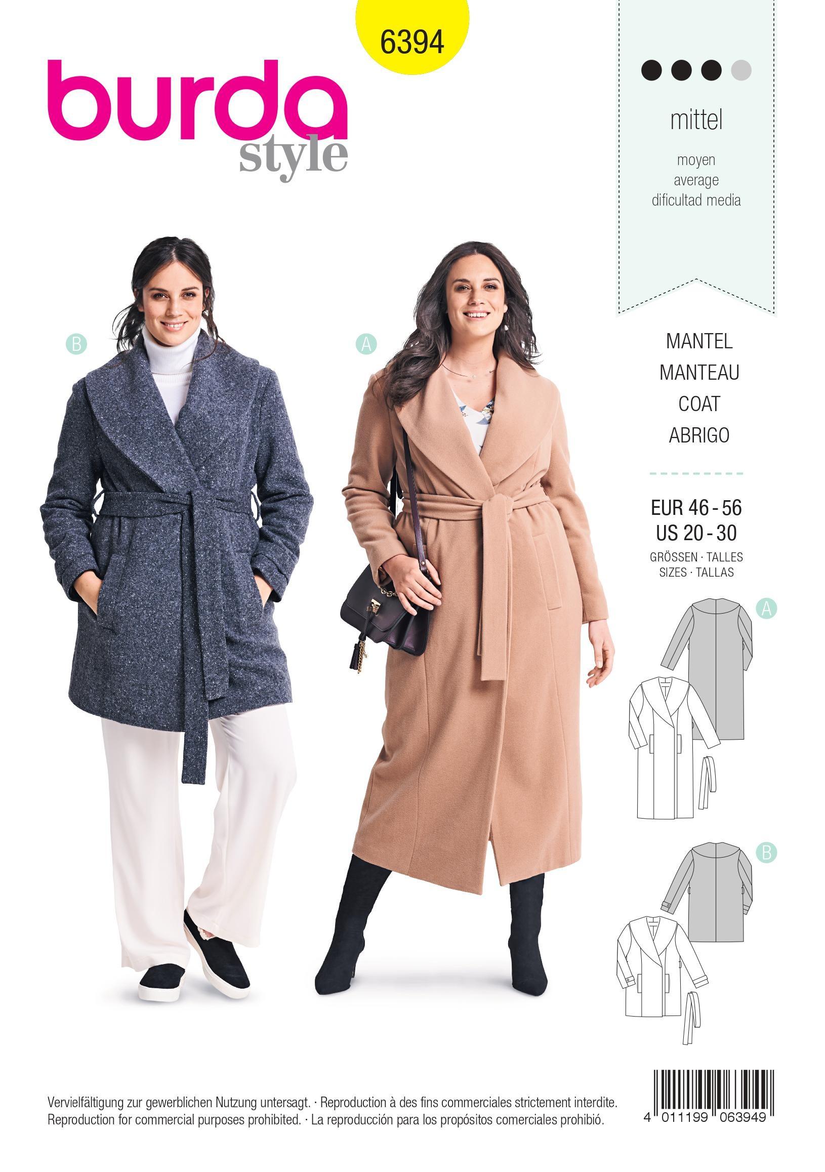 Patron burda manteau femme grande taille