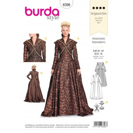 Renaissance Dress Costume Sewing Pattern - Burda N°6398