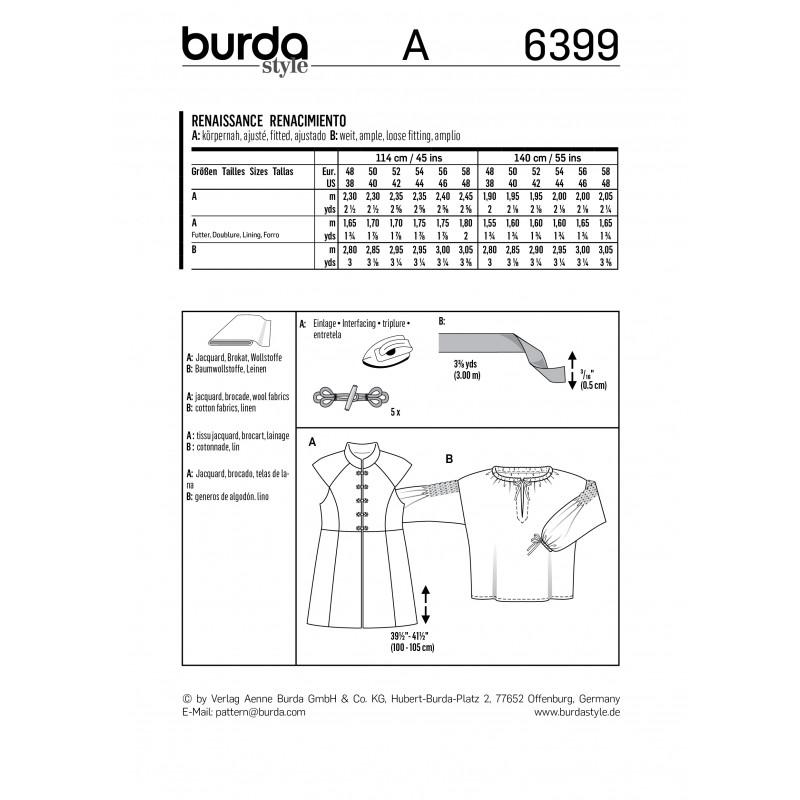 Pour Homme N°6399 Burda Renaissance Patron Costume gyvIY6bf7