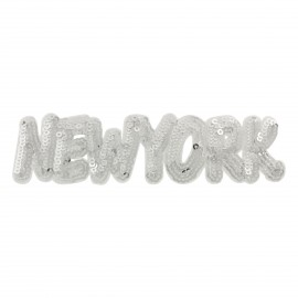 Sequins New York iron-on - silver