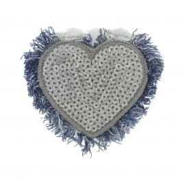 Thermocollant Coeur Jeans Sequins  - argent