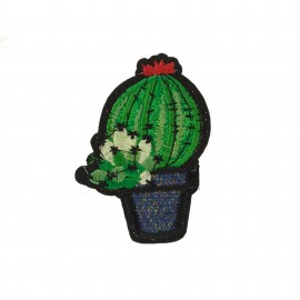 Cactus lurex B iron-on - green