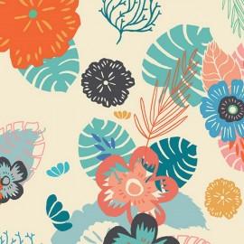 Cotton fabric - ivory AGF Ocean Floret Breeze x 10cm