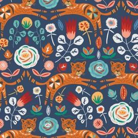 Tissu coton AGF Tigris Indigo - denim x 10cm