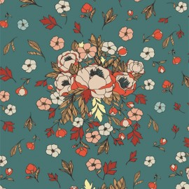 Cotton fabric - peacock AGF Soulmate Blooms Lust  x 10cm