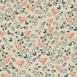 Tissu coton AGF Lovebirds Celeste - ivoire x 10cm