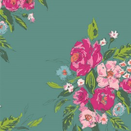 ♥ Only one piece 130 cm X 135 cm ♥ Rayon fabric - teal AGF Extenpore Gala